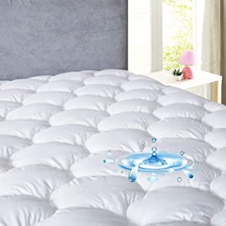 DROVAN Waterproof Mattress Pad Cover Queen Size - Soft Fluffy - Pillow Top Cotton Top Down Alternative Filling Cooling Mattress Topper, 60 by 80 inches