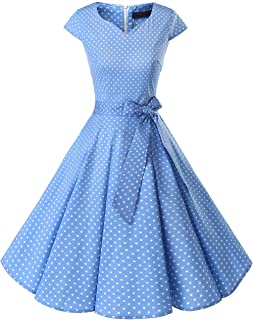 ccc515addf29 DRESSTELLS Retro 1950s Cocktail Dresses Vintage Swing Dress with Cap-Sleeves