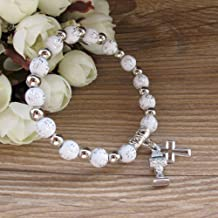 First Holy Communion Party Favor (12 PCS) Stretch Wood Bracelet with Silver Metal Chalice and Cross Charms/Recuerdos para Primera Comunion Niña Niño/Gift for Guests