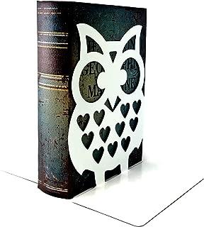 Bellaa 28632 Owls Bookend Cute Nonskid Art Book End Metal 7inch
