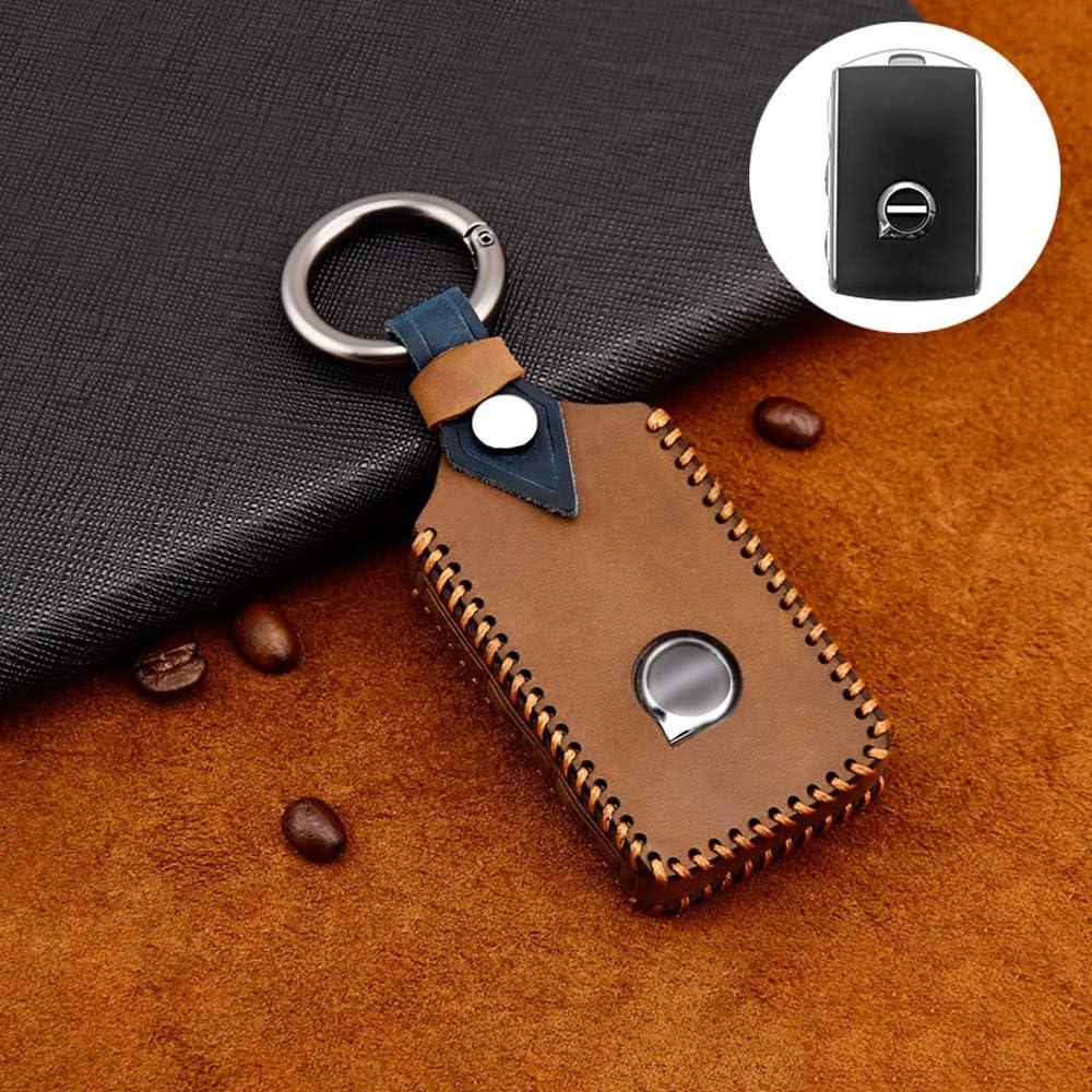 Ontto - Carcasa de 3 botones para llave con mando a distancia para Volvo XC40, XC60, XC70, XC90, S60, S90, S80, C30, V70, V90, 2017-2020, de piel de vaca marrón