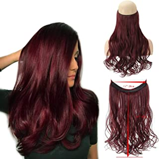 """XBwigs Straight Curly Hair Extensions 2019 Realistic Hair Natural Fluffy No Clip In Hair Extensions Invisible Crown Wavy Hairpieces 22""""20""""18"""" 100g (18"""