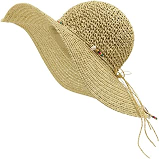 LETHMIK Womens Summer Straw Hat Manual Shell String Ladies Beach Sun Hat Floppy Wide Brim Hat