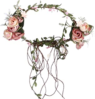 Folora Adjustable Flower Headband Hair Wreath Floral Garland Crown Headpiece with Rattan for Wedding Ceremony Party Festival (190711P)