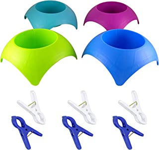 Beach Cup Holders Sand (MultiColor, 4 Pack) Bundled With Towel Clips (6 Pack)