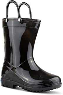 ZOOGS Children's Rain Boots with Handles, Little Kids & Toddlers, Boys & Girls Black