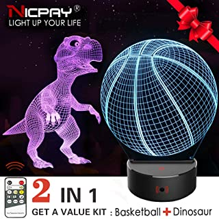 Dinosaur Night Light for Kids,2Pcs 3D Basketball & Dinosaur Lamp,7 Colors Change Remote & Touch Control Nightlight-Top Birthday New Year Gifts Idea for Boys Girls Kids Baby
