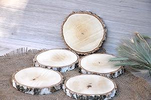 Juego de cinco 10-12cm rodajas de abedul Portavasos redondos Posavasos de madera Pequeñas bases para tartas Decoración...