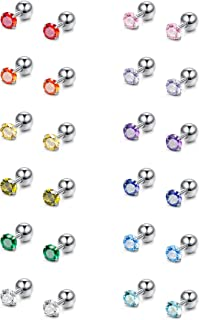 FIBO STEEL 12 Pairs CZ Stud Earrings for Women Girls Birthstone Piercing Earring for Tragus Cartilage 3-8MM