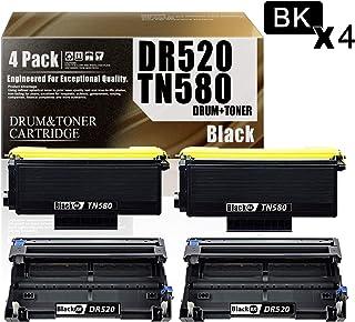 2 Pack Black DR520 Drum Unit +2 Pack Black TN580 Toner Cartridge Compatible Drum Unit & Toner Cartridge Replacement for Brother HL-5240 HL-5250DN/DNT HL-5380DN MFC-8370 MFC-8480DN DCP-8060 Printers