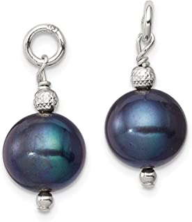 Sterling Silver Freshwater Cultured Peacock Pearl and Bead Hoop Earring Enhancers