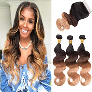 ALI RAIN Human Hair Bundles Body Wave Virgin Brazilian Hair Bundles with Closure Weave Hair Human Bundles With Closure 3 Bundles with Closure (14 16 18 + 12, T1B/4/27)