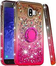 Carcasa para Samsung Galaxy J4 2018 con purpurina líquida y soporte para anillo, Gris Rosa, Samsung Galaxy J4 2018