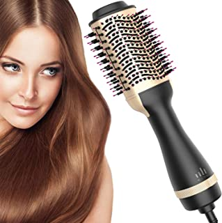 Hair Dryer Brush, Bvser Air Hair Brush Hair Dryer & Volumizer 3 in 1 Hot Air Brush with Negative Ion Curling Dryer Brush Styler, Hair Straightening Brush, Rotating Blow Dryer Brush � Golden