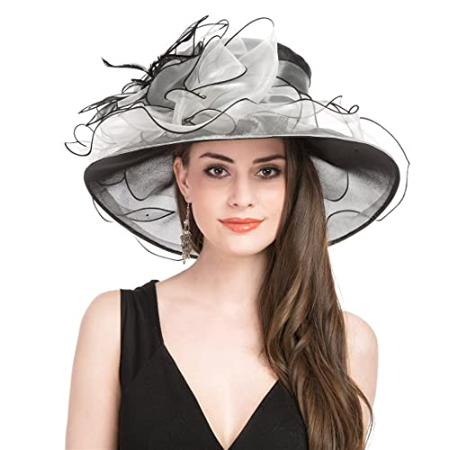 7d676d8d Saferin Women Oganza Summer Sun Hat Beach Church Hat Ascot Race Derby Hat  Cocktail Wedding