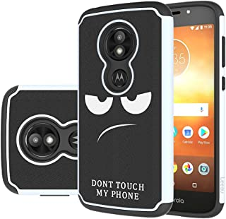 Moto E5 Play Case, Moto E5 Cruise Case, LEEGU [Shock Absorption] Dual Layer Heavy Duty Protective Silicone Plastic Cover Rugged Phone Cases for Motorola Moto E5 Play - Don't Touch My Phone