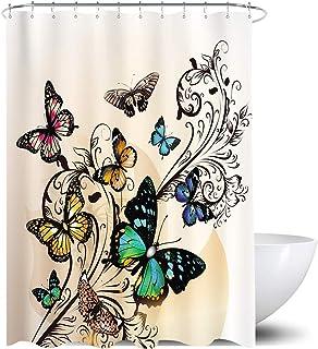 Homewelle - Cortina de ducha con diseño de mariposas, color amarillo, 72 x 72 cm, diseño de flores de damasco, color flora...