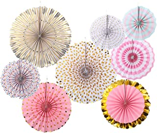 8 Pcs Pink Gold Party Paper Fans Girls Baby Shower Birthday Party Fans Pink Gold Glitter Fans Photo Backdrop for Nursery Wedding Bridal Shower Engagement Decoration Pink Gold Party Decoration