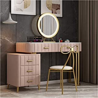 Vanity Set for Christmas Day Dressing Table Vanity Set with Led Lighted Mirror, 2 Drawers and Cushioned Stool Set, Makeup ...
