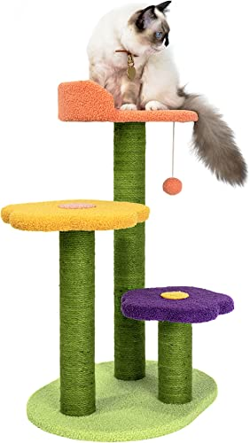 MEWOOFUN Cat Trees with Platform 25 inches Cat Trees and Towers Cat Climbing Tower with Sisal Scratching Posts for Indoor Cats