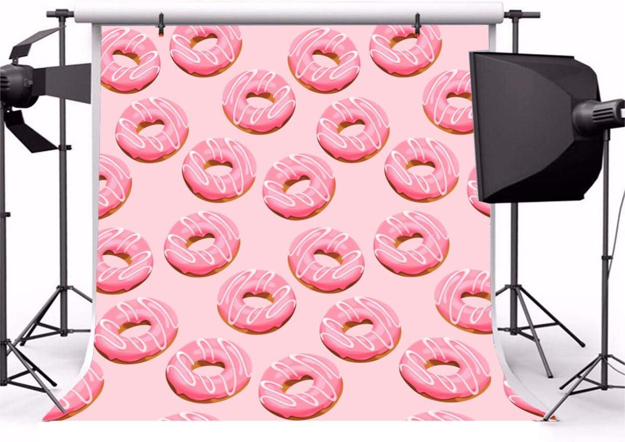 Leowefowa 10x10ft Doughnut Backdrop Vinyl Photography Background Delicious Cream Pink Doughnut Baby Room Indoor Decors Wallpaper Baby Portrait Photo Shooting Studio Props