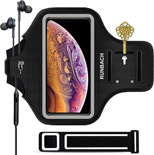 iPhone 11 Pro Max/12 Pro Max/13 Pro Max/iPhone Xs Max Armband,RUNBACH Sweatproof Running Exercise Bag with Card Slot ...