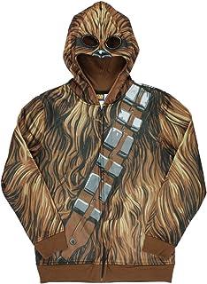 Star Wars Big Boy's Sublimated Fleece Zip Costume Hoodie (Chewbacca, X-Small) Brown