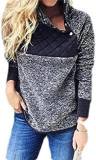 Macondoo Women's Splice Fleece Oblique Button Long-Sleeve Quilted Pullover Sweatshirts