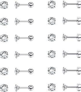 FIBO STEEL 12 Pairs Stud Cartilage Earrings for Women Men Screw Barbell Flat Back Ear Piercing Jewelry Set 16G Round CZ 4MM