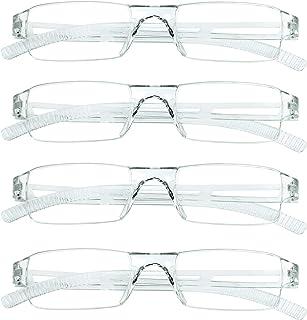4 paires de lunettes de lecture, lunettes de blocage de lumière bleue, lunettes de lecture d'ordinateur pour femmes et hom...