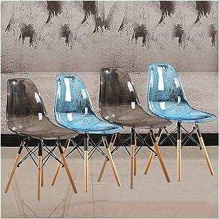 LSRRYD Pack de 4 Sillas de Comedor Sillas Cocina Transparente Patas de Madera Maciza de Haya Marco de Acero Cruzado Y Asiento de PC,para la cafetería Office Lounge (Color : Clear Gray+Blue)