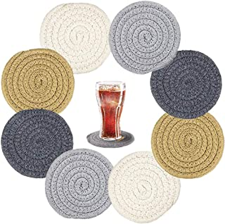 8 Pack Braided Cup Coasters,Absorbent Cotton Coasters,Round Woven Coasters for Drink,Home Kitchen,Table,Party,Handmade Gif...