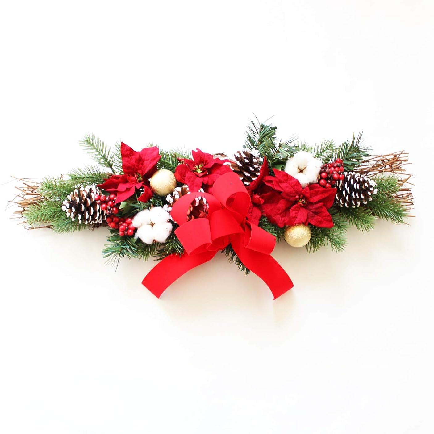 ピニオン明示的に記事グランドグルー クリスマスリース クリスマス飾り クリスマス玄関飾り スワッグ 造花 アーティフィッシャルフラワー 玄関飾り 壁掛け
