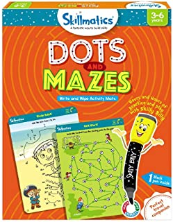 Skillmatics Educational Game: Dots and Mazes (3-6 Years) | Erasable and Reusable Activity Mats | Learning Tools for Kids | Travel Friendly Toys