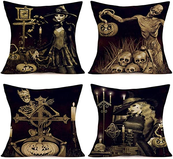 Qinqingo Halloween Pillow Covers Skull Pumpkin And Funny Skull Human Skeleton Cotton Linen Witch Throw Pillows Decorative Square Cushion Cover 18 X18 Set Of 4 Black Toss Throw Pillowcase Skull Witch