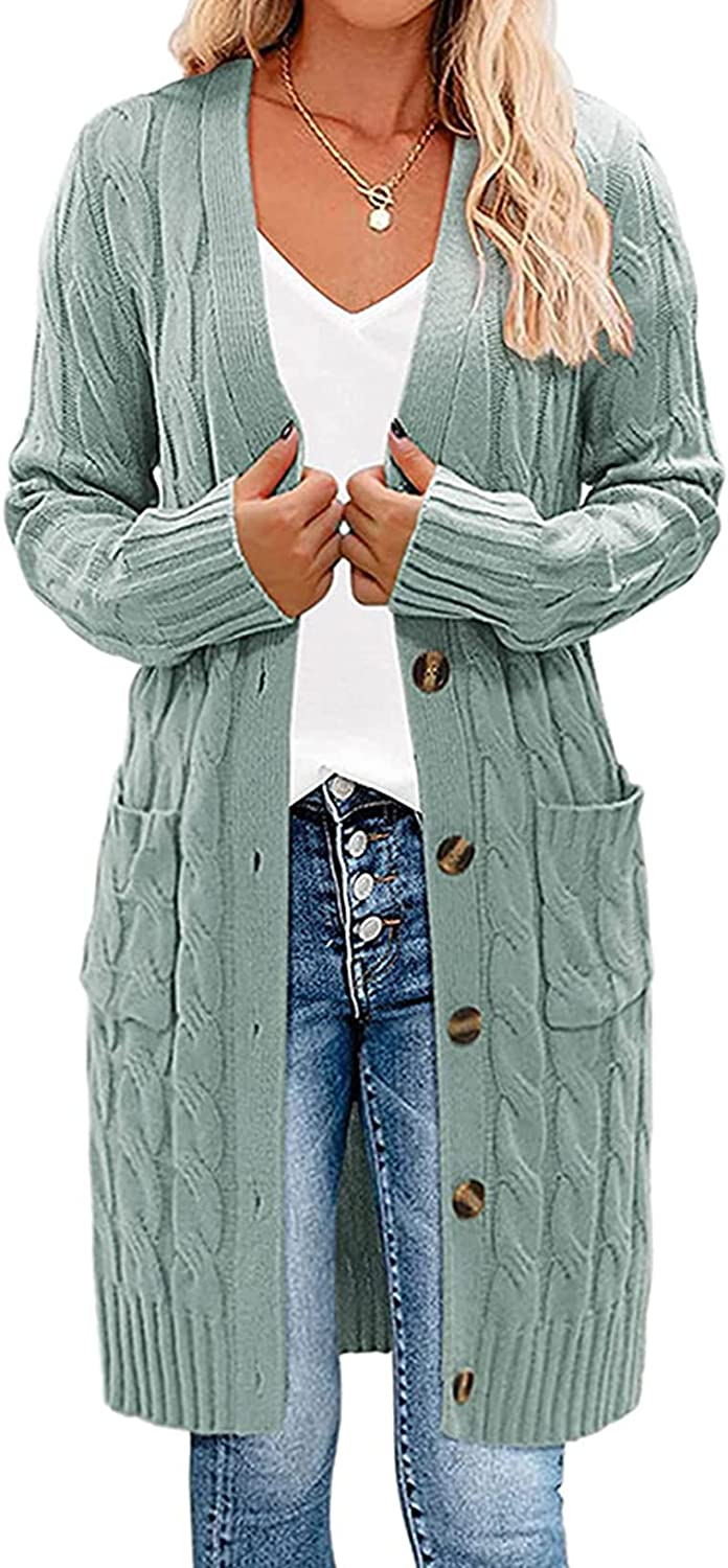 Krisbok Cardigan Sweaters for Women Long Sleeve Open Front Button Down Cable Knit Casual Loose Coat with Pockets
