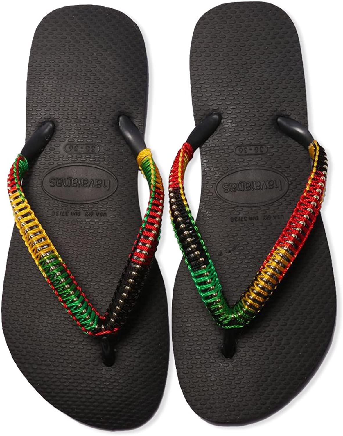 Havaians Women Rasta Hand Made Flip Flop Braded Beach Sandals