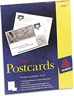 Avery 5389 Laser Postcards, Perforated, 4-Inch x6-Inch, 100/BX, White