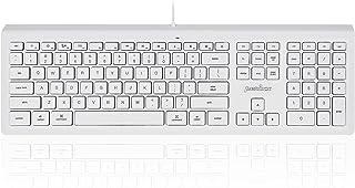 Perixx PERIBOARD-323 Wired Backlit Keyboard for Mac OS X, X Type Scissor Keys, White LED, Full Size Layout, Model:PB-323US-11352