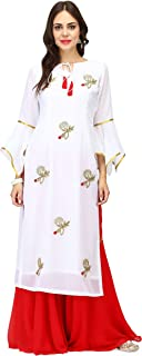 Pret a Porter White & Red Indian Kurti With Palazzo