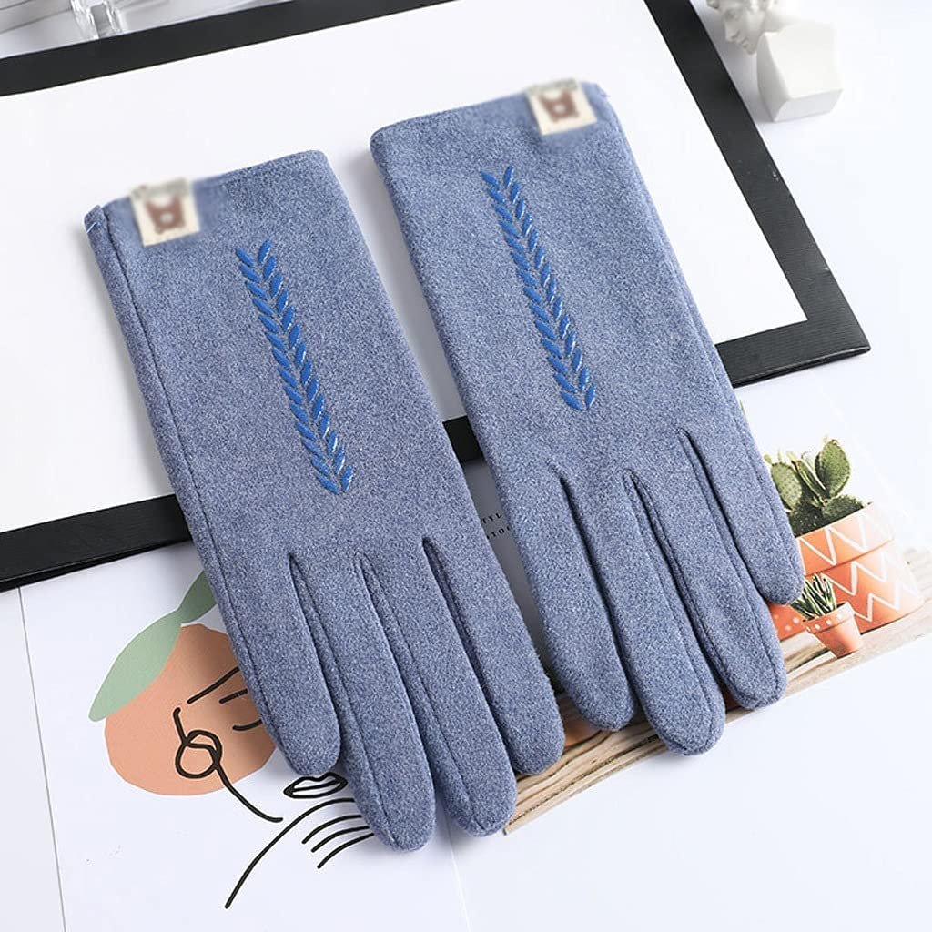 JEONSWOD New Winter Female Lace Warm Cashmere Three Ribs Cute Bear Mittens Double Thick Plush Wrist Women Touch Screen Driving Gloves (Color : A)