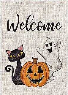 ASKLKD Bannière Joyeuse Halloween Garden, Yard Bienvenue Panneau d'impression double face Conception de la cour extérieure...