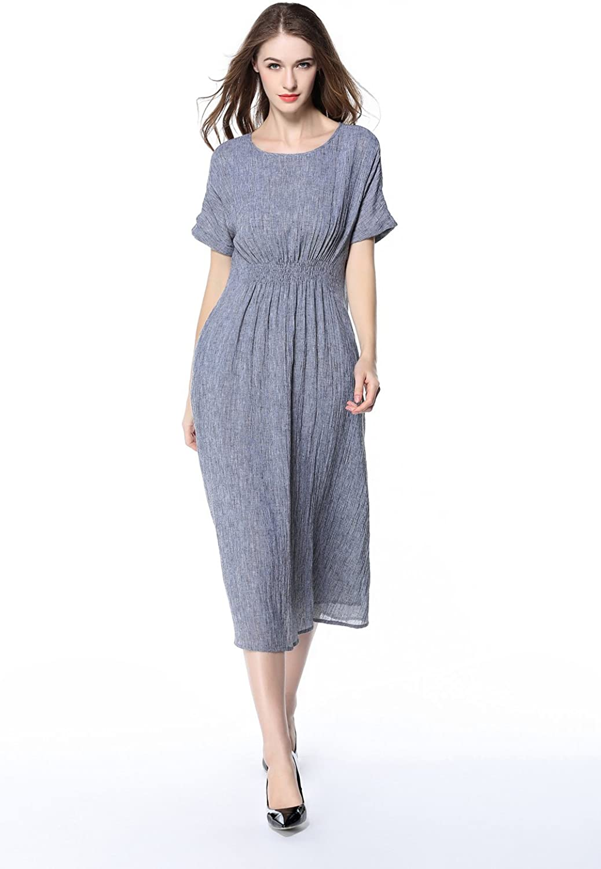 Alexander Cardin Women Dresses Summer Cotton Linen Round Neck Short Sleeve Loose Casual Midi Dress
