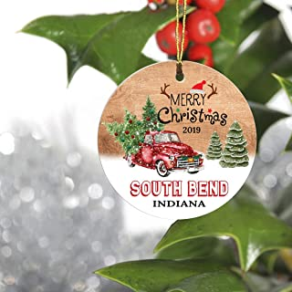 Merry Christmas South Bend Indiana in State 2019 - Home Decorations for Living Room, Ceramic Christmas Tree Ornaments 3 Inches - Hometown for Family, Friend
