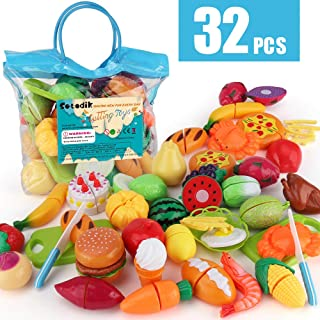Sotodik 32PCS Cutting Toys Pretend Food Fruits Vegetable Playset Educational Learning Toy Kitchen Play Food For Boy Girl K...