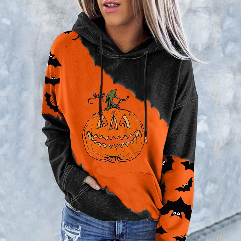 Hoodies for Women,Women Casual Floral Print Hooded Sweatshirts Casual Funny Cute Pumpkin Sweaters Tops Shirts