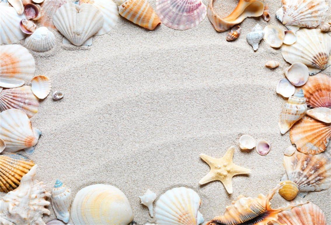 Seashells 6x8 FT Photo Backdrops,Seashell Collection Scallop Nautilus Mollusk Summer Holiday Destinations Marine Background for Child Baby Shower Photo Vinyl Studio Prop Photobooth Photoshoot