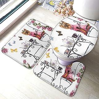 3 stuks antislip badkamer tapijt, Yorkshire Terrier Tea Party vlinders rozen bedrukt antislip badtapijten badkamer en toil...