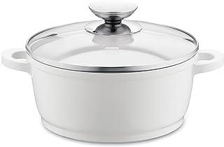 Berndes Vario Click Induction - Olla de cerámica con Tapa de Cristal para inducción (20 cm, 2,3 litros), Color Blanco