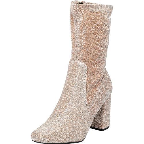 Cambridge Select Women s Closed Round Toe Soft Stretch Sock Style Chunky  Block Heel Mid-Calf fd96d9da4907